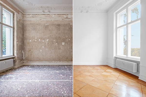 An image showing a room that has been refurbished before and after